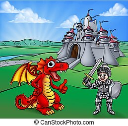 cavaleiro, castelo, caricatura, dragão
