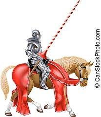 cavaleiro, cavalo, medieval