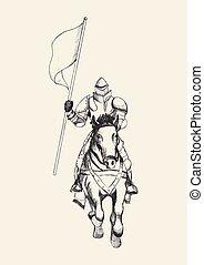 cavaleiro, com, bandeira