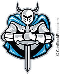 cavaleiro, com, espada, e, capa, frente, retro