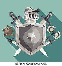 cavaleiro, emblema, ilustração