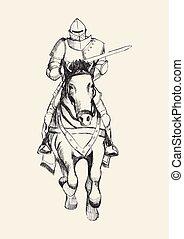 cavaleiro, esboço, jousting