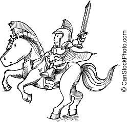 cavaleiro, esboço, vetorial, arte, doodle
