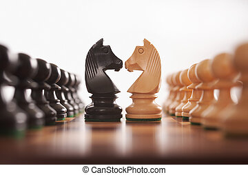 cavaleiro, filas, xadrez, dois, penhores, desafio, centro