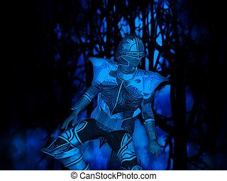 cavaleiro, floresta