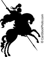 cavaleiro, hors, silueta, campeão