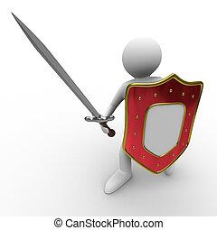 cavaleiro, imagem, isolado, experiência., espada, branca, 3d
