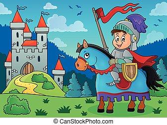 cavaleiro, ligado, cavalo, tema, imagem, 3