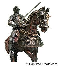 cavaleiro, ligado, horseback