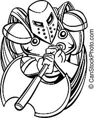 cavaleiro, machado