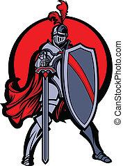 cavaleiro, mascote, com, espada, e, escudo