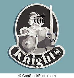 cavaleiro, metal, emblema