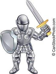 cavaleiro, personagem, caricatura