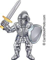 cavaleiro, personagem, caricatura, mascote
