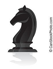 cavaleiro, pretas, xadrez