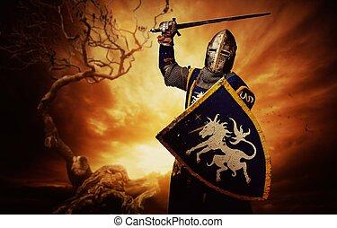 cavaleiro, sobre, medieval, tempestuoso, sky.