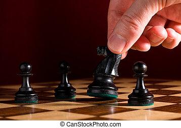 cavaleiro, tábua, move-se, xadrez, mão