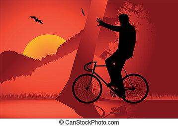 cavaleiro, vetorial, engrenagem bicicleta, fixo