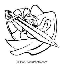 cavaleiro, vetorial, ilustração, guerreira