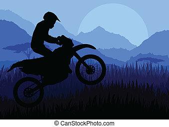 cavaleiro, vetorial, silueta, motocicleta, motocicleta