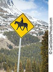 cavaleiros cavalo, sinal estrada