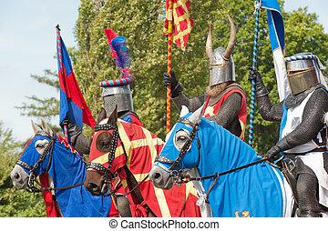 cavaleiros, em, armadura