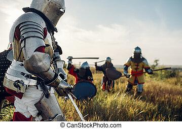 cavaleiros, grande, luta, batalha, medieval