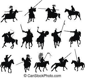 cavaleiros, vetorial, jogo