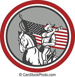cavalerie, clairon, souffler, soldat, américain, cercle