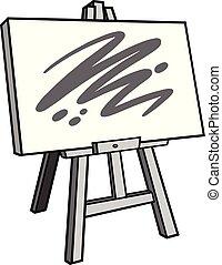 cavalete, arte, ilustração
