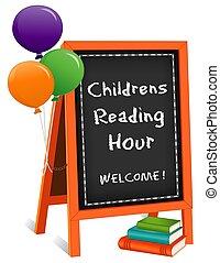 cavalete, childrens, sinal, hora, livros, chalkboard, leitura, balões