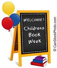 cavalete, childrens, sinal, livros, livro, chalkboard, balões, semana