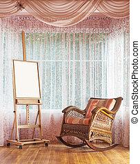 cavalete, madeira, cadeira wicker, balanço, composição