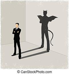 cavalheiro, sombra, lançando, mal