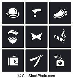 cavalheiro, vetorial, jogo, ícones