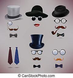cavalheiros, vetorial, senhora, retro, ilustração