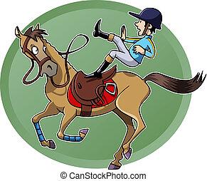 cavalier, cheval, tomber, sien
