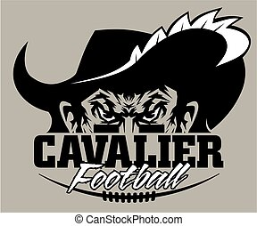 cavalier football team design with laces and half mascot for...