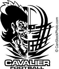 cavalier football team design with helmet and half mascot...