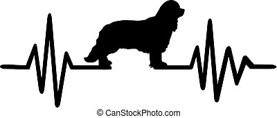 Heartbeat frequency with Cavalier King Charles dog silhouette