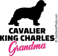 Cavalier King Charles Grandma with silhouette - Cavalier...