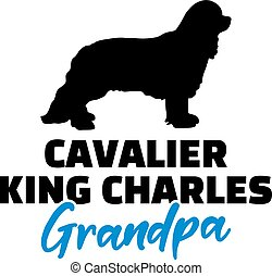 Cavalier King Charles Grandpa with silhouette - Cavalier...