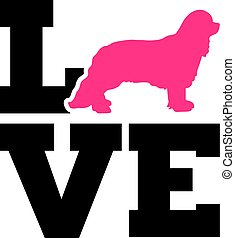 Cavalier King Charles love with pink silhouette - Cavalier...