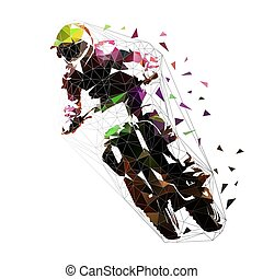 cavalier, motocross course, isolé, illustration, polygonal, vecteur, bas