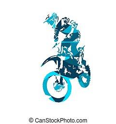 cavalier, motocross, freestyle, illustration, vecteur, sauter
