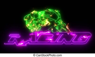 cavalier, motocyclette, coincer, laser, course, animation