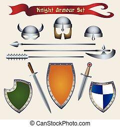 cavaliere, armatura, set