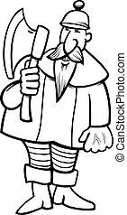 cavaliere, cartone animato, coloritura, pagina, ascia