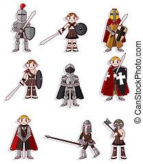 cavaliere, cartone animato, icona