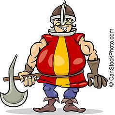 cavaliere, cartone animato, illustrazione, ascia